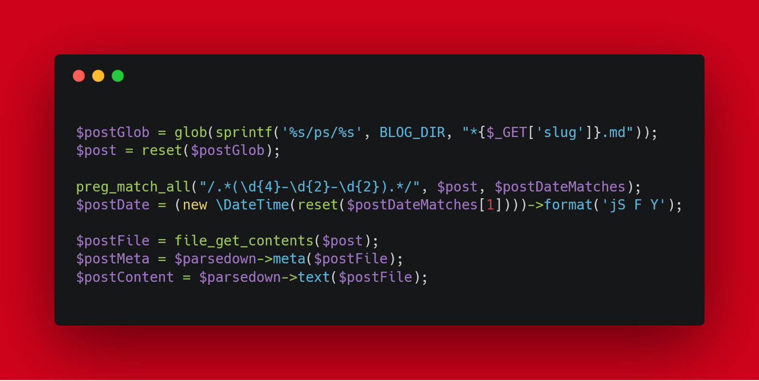 The first version of the post-fetching code